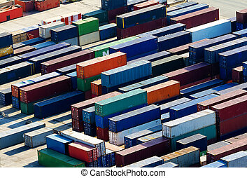 Containers - A lot of containers waiting for a landing