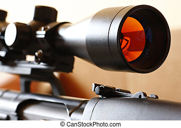 sniper rifle scope - Detail of dragunov rifle with scope,...