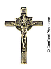 Christian cross - Christian iron cross isolated on white...