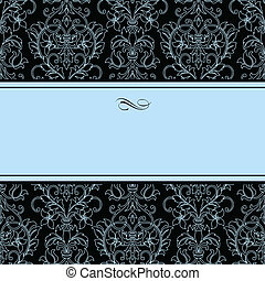 Vector Dotted Damask Pattern and Blue Frame Easy to edit...