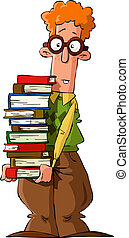 Nerd with a pile of books, vector illustration
