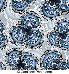 vector seamless pattern with abstract flowers in blue