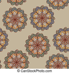 vector hand drawn seamless ethnic floral pattern