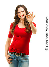 Beautiful woman making an OK sign - Isolated portrait of a...