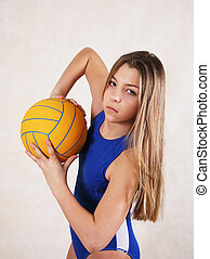 girl - teenager in a water ball