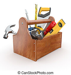 Toolbox with tools. Skrewdriver, hammer, handsaw and wrench....