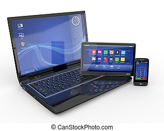 Electronics Laptop, mobile phone and tablet pc 3d