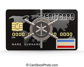 Credit card with steel security lock. 3d