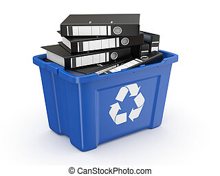 Folders in recycle bin. 3d - Folders in recycle bin on white...