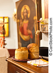 Bread in church - Two breads in orthodox church - easter...