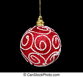 Red ball of christmas on a over black background