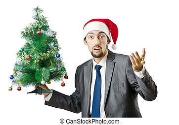 Businessman with christmas tree on white