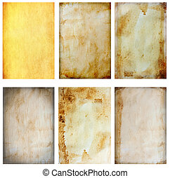 Six page of old papers texture  isolated on white background