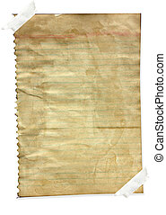 Grunge paper note with line isolate