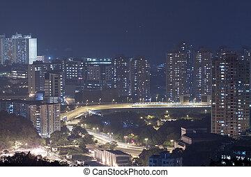 Hong Kong apartment and downtown at night