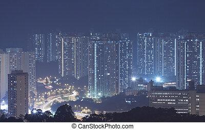 Hong Kong apartment blocks at night