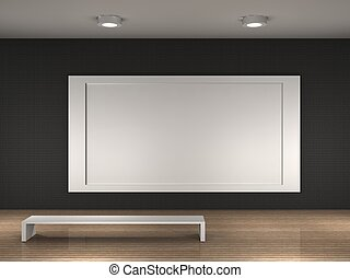the interior of a empty museum room - museum room with frame...