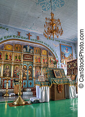 Interior of the Orthodox Church with icons and altar