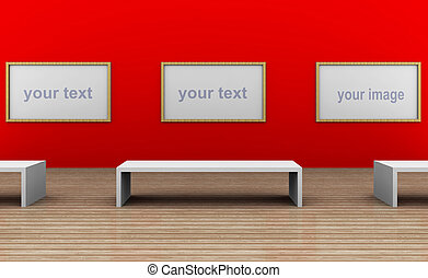 a empty museum room with 3 frames - a 3d illustration of a...