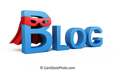 Word Blog. 3D concept on white background.