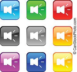 Sound buttons - Sound shiny buttons Vector illustration