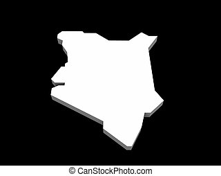 a illustration of the kenya map - a 3d illustration of the...