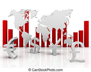 trade currencies around the world - a 3d illustration of...