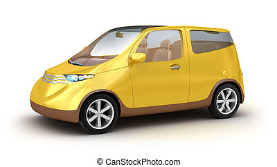 Small yellow car on white background. My own design
