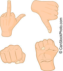 Hand signs. - Strong male fists. Vector illustration. .