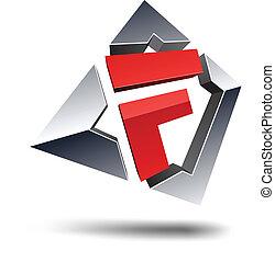 """F 3d letter. - Illustration of """"F"""" 3d design element."""