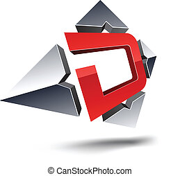 "D 3d letter. - .Illustration of ""D"" 3d design element."