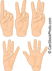 Numbers - Numbers hand signs Vector illustration