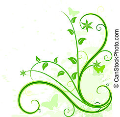 Green floral background. - Grunge floral backdrop. Vector...
