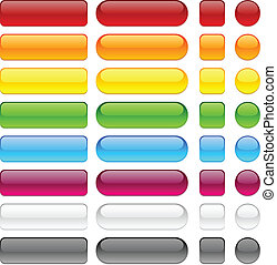 Color blank buttons. - Blank web glossy buttons. Vector.