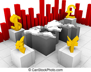 trace currencies around the world - a 3d illustration of...