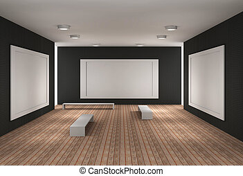 a empty museum room with frames - a 3d illustration of a...