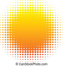 Halftone sun. - Orange halftone sun. Vector illustration.