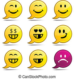 Smiley comics - Smiley set of round glossy comics