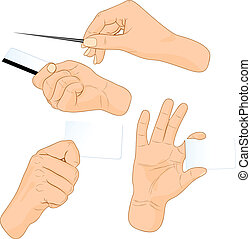 Cards in a hand. Vector illustration. .