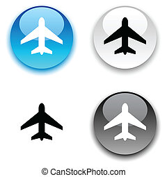 Aircraft button. - Aircraft glossy round vector buttons.