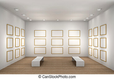 a illustration of a empty museum room with frames - a 3d...