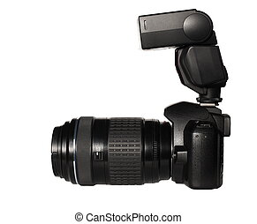 Photo camera, telephoto and flash