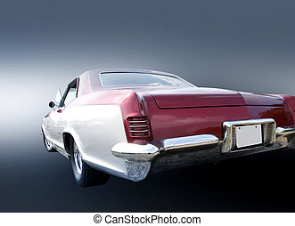 Clasic car - Tail end of white classic car on grey...
