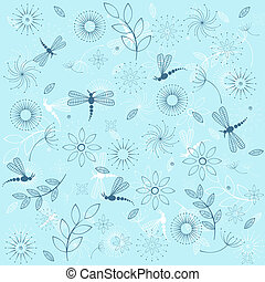 Background with blue dragonflies