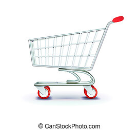 shopping cart - illustration of side view empty supermarket...