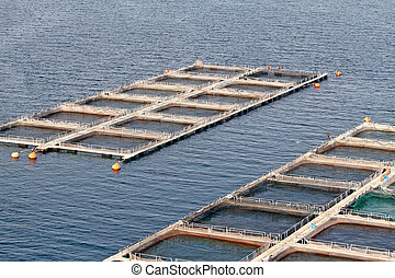 Aquaculture - Fish farms in Peloponesse, Greece