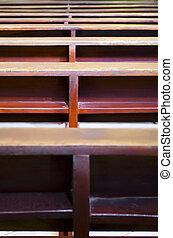 Church Pews - Close up of pews inside a Catholic Church