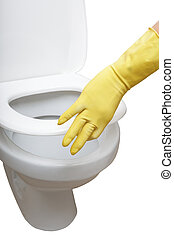 Gloved hand closing wc.