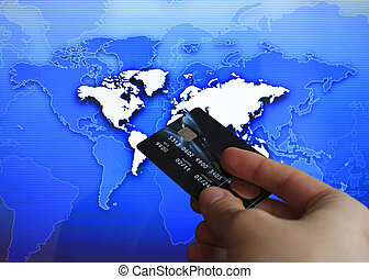 cashless pay, blue business background, hand detail