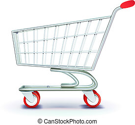 shopping cart - Vector illustration of side view empty...